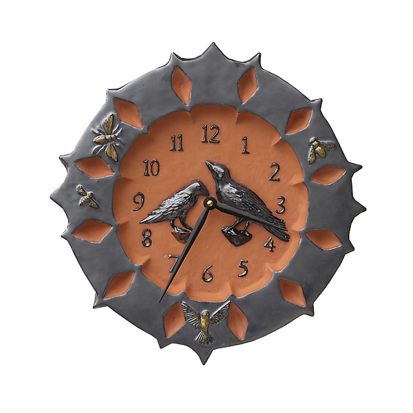 Ravens Ceramic Wall Clock in Terracotta and Metal Glaze