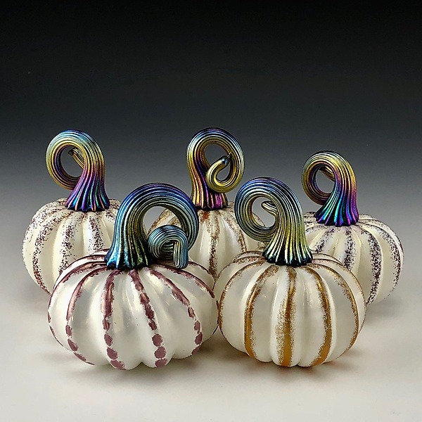 Five White and Gold Luster Pumpkins