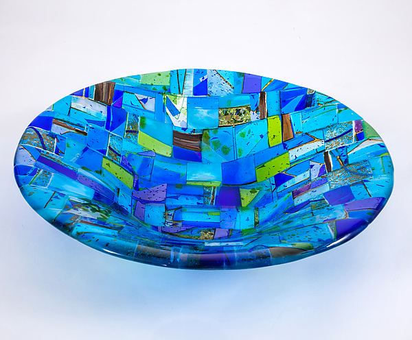 Barcelona Blue Art Glass Bowl
