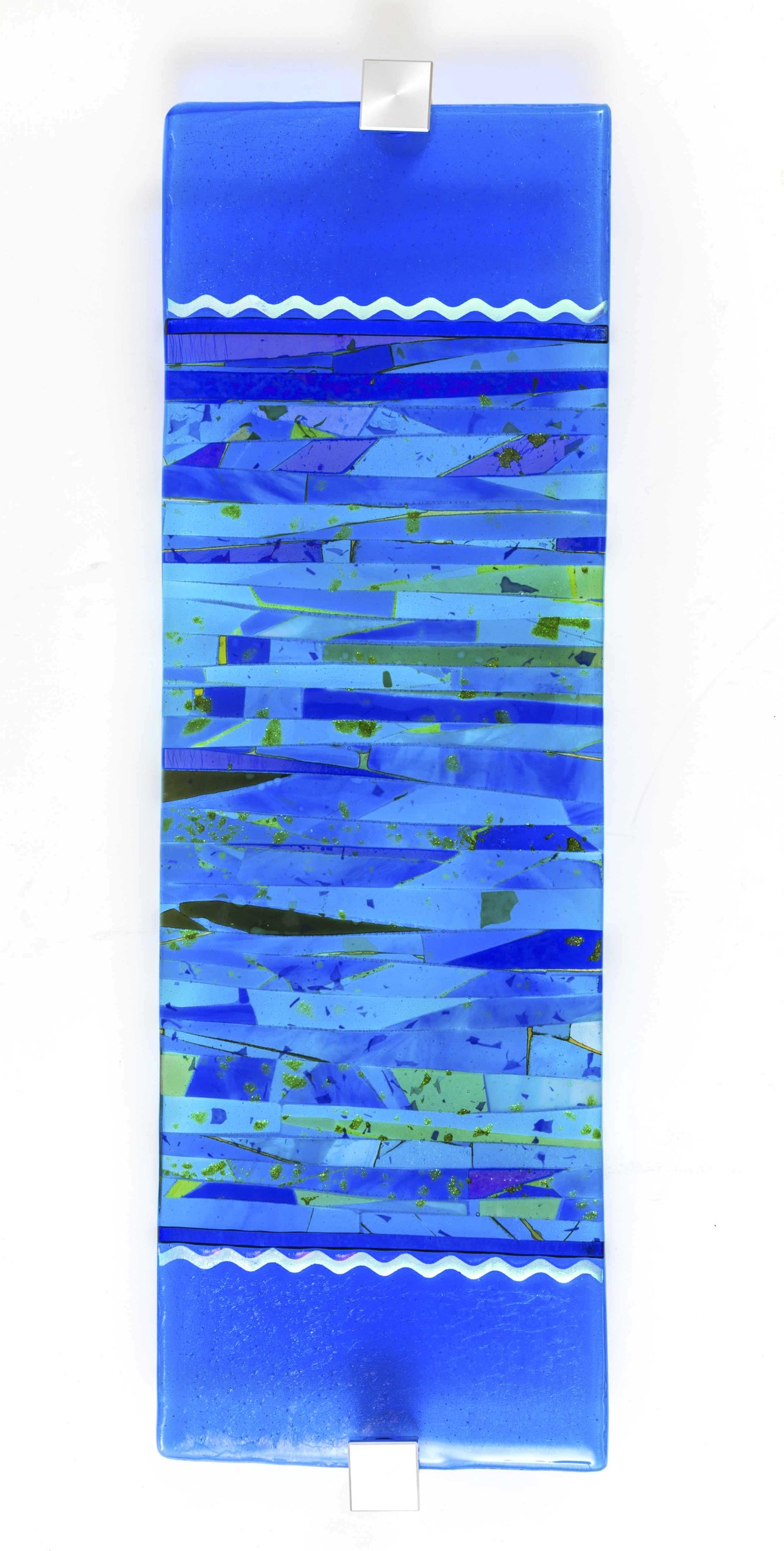 Composition in Blue Art Glass Wall Sculpture