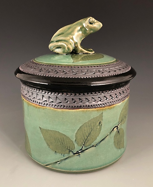 Frog Cookie Jar with Beech Leaves