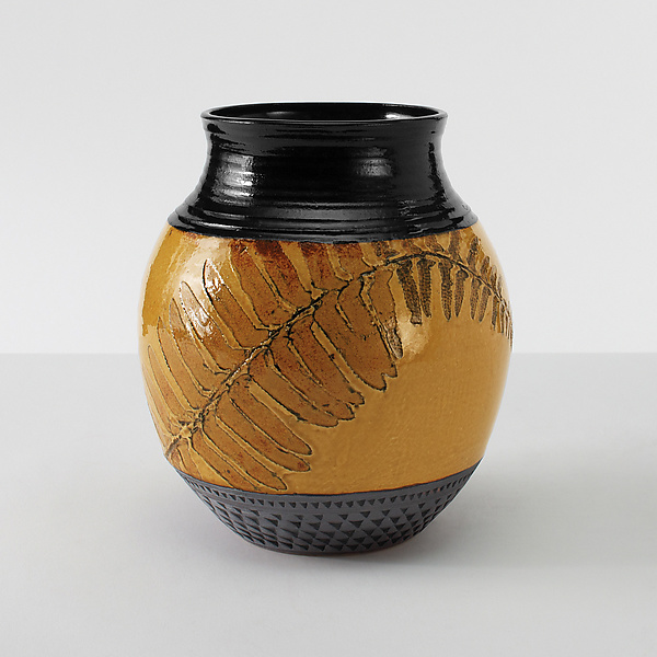 Christmas Fern Chubby Vase in Amber
