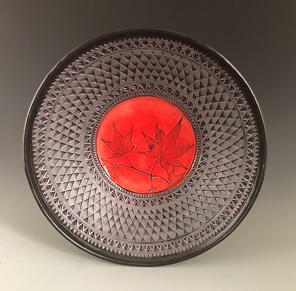 Cameo Bowl in Poppy Red with Japanese Maple Leaves