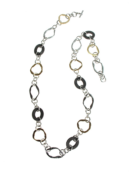 Long Hammered Metal Ovaloid and Mesh Necklace