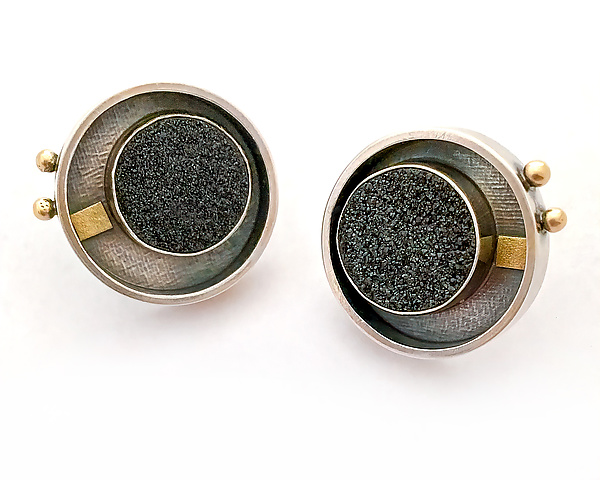Black Drusy Circle Studs