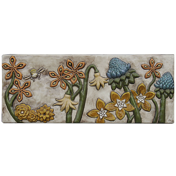 Botanical and Bees Ceramic Tile in Off White Background