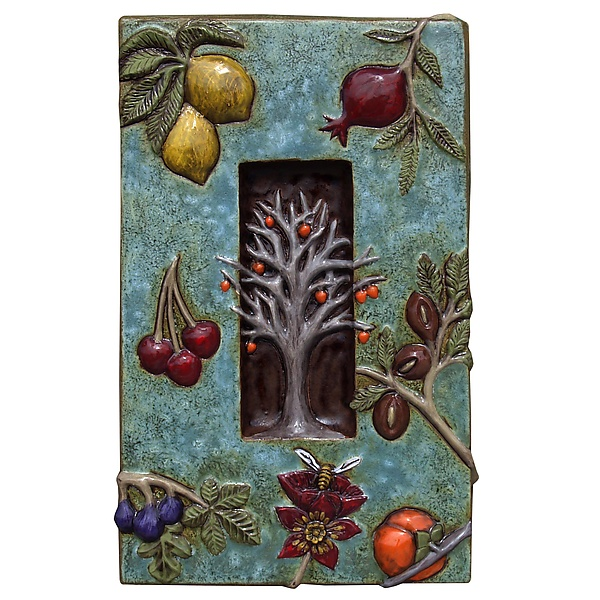 Persimmon Tree and Fruit in Turquoise Background