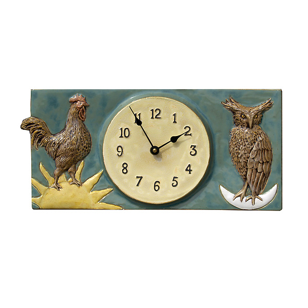 Rooster and Owl Wall Clock in Antique Teal Glaze