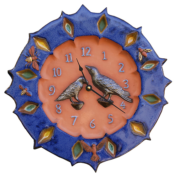 Ravens Wall Clock in Terracotta & Sapphire