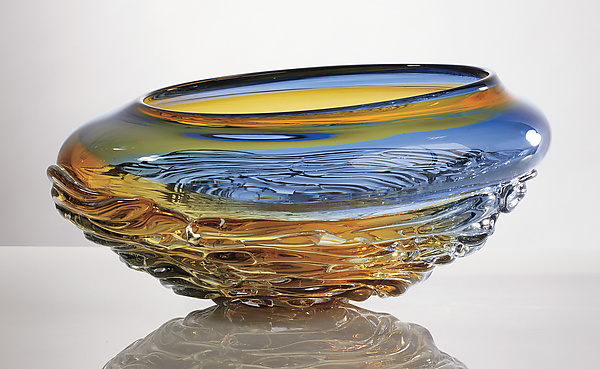 Large Ripple Wave Bowl in Steel Blue and Gold