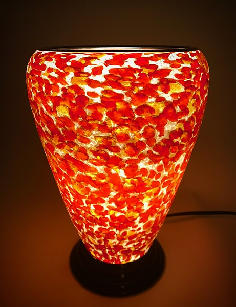 Orange and Red Glass Lamp