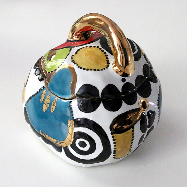 Whimsical Multicolor High Fire Ceramic Box