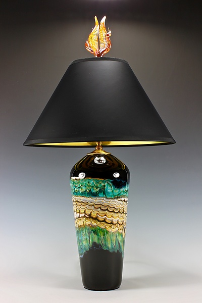 Black Opal Table Lamp with Tulip and Tendril Finial