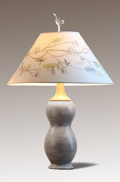 Butternut Ceramic and Maple Table Lamp with Large Conical Shade in Artful Branch