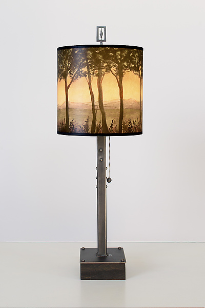 Dawn Steel Table Lamp on Wood