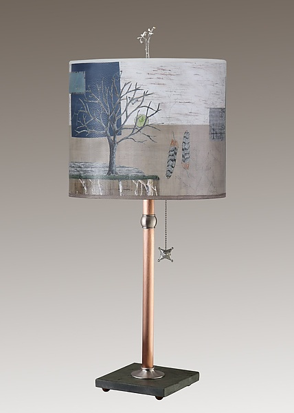 Copper Table Lamp on Vermont Slate Base with Large Oval Shade in Wander in Drift