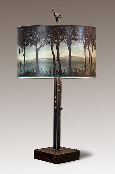Steel Table Lamp on Reclaimed Wood with Large Drum Shade in Twilight