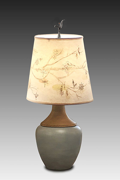 Ceramic and Maple Table Lamp with Small Drum Shade in Artful Branch