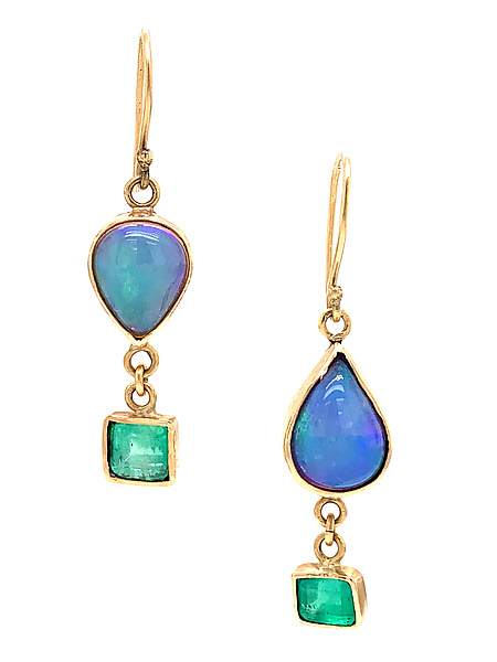 Opal and Emerald Earrings