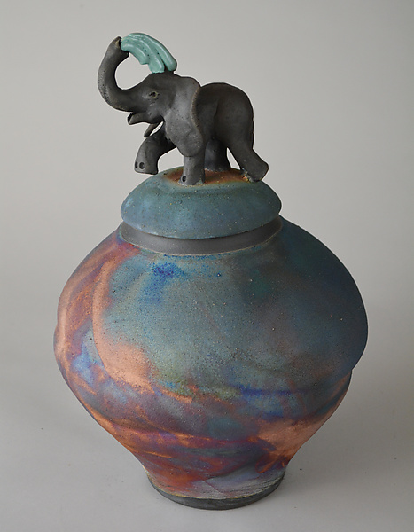 Elephant Jar with Matte Glaze