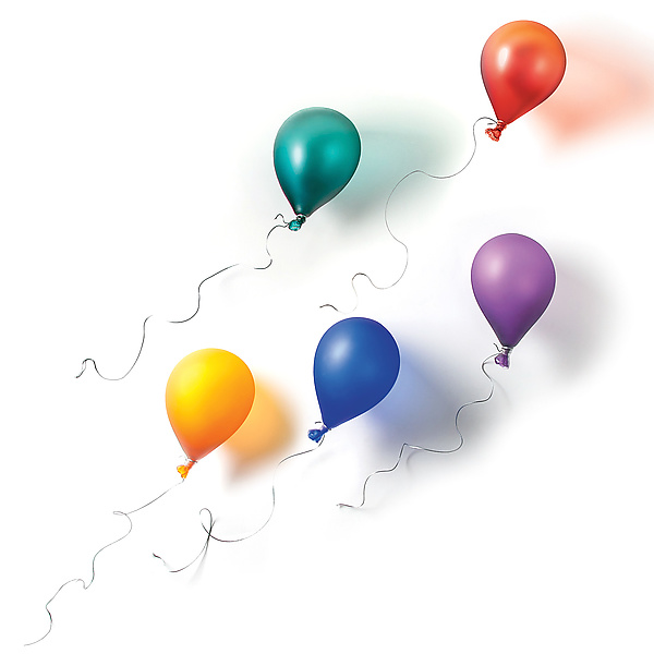 Five Floating Balloons - Rainbow