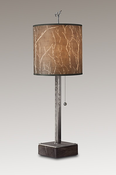Steel Table Lamp on Wood with Medium Drum Shade in Twigs