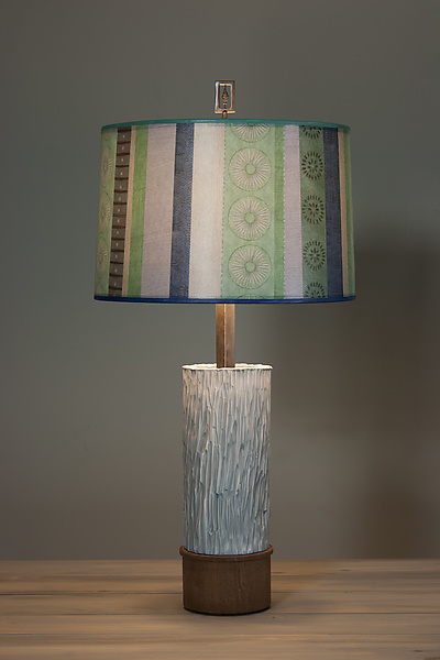 Ceramic and Wood Table Lamp with Large Drum Shade in Serape Waters