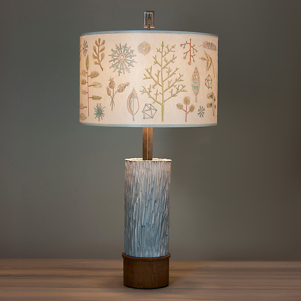 Ceramic and Wood Table Lamp with Large Drum Shade in Field Chart