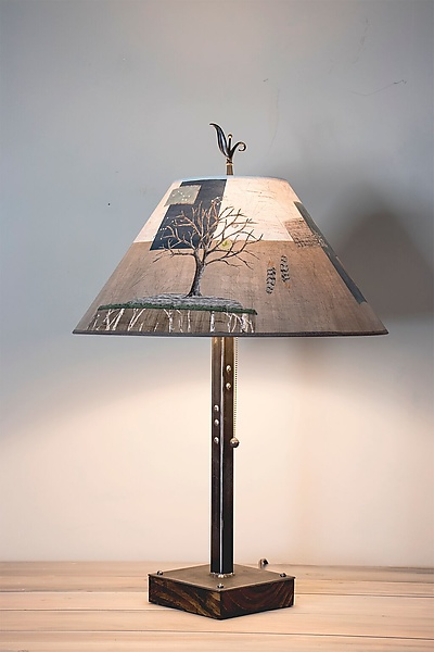 Steel Table Lamp on Wood with Large Conical Shade in Wander in Drift
