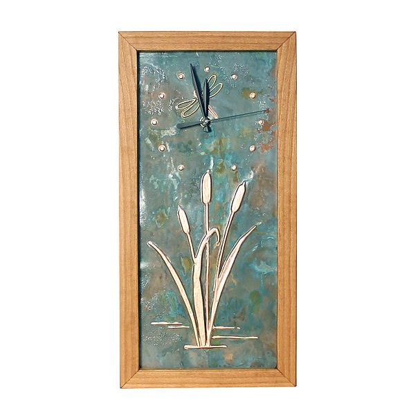 Dragonfly and Cattails Tall Box Clock