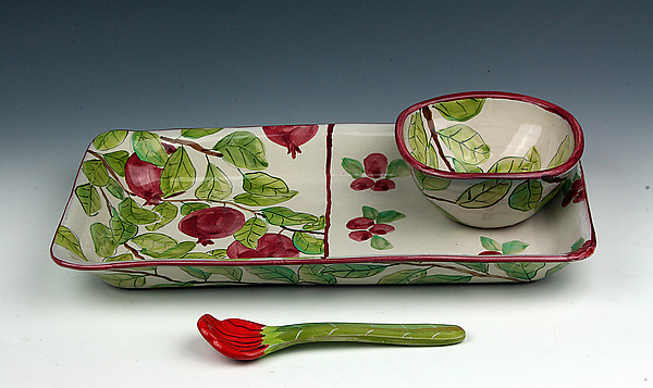 Pomegranate/Cranberry Dip Set with Spoon