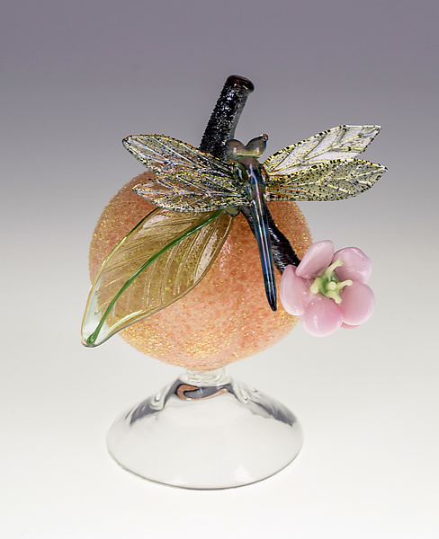 Peach Bottle with Dragonfly
