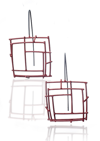 Red Square Structure Earrings