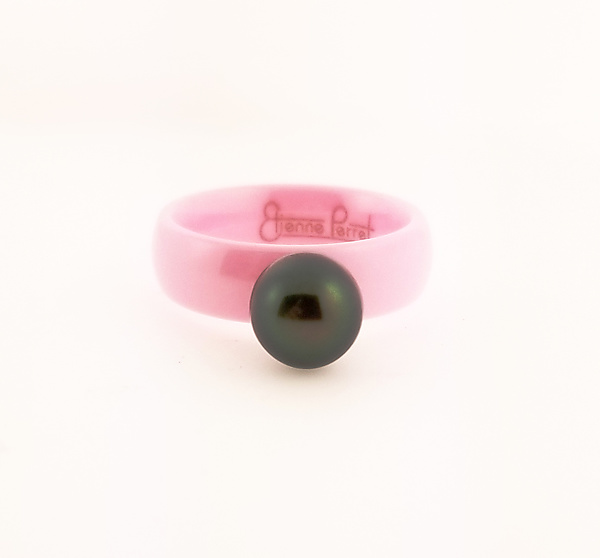 Pink Ceramic Band with Cultured Black Pearl