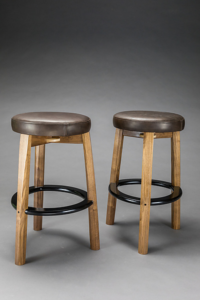 Wood and Leather Bar Stool