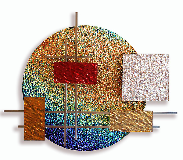 Dichro Glass and Metal Wall Sculpture