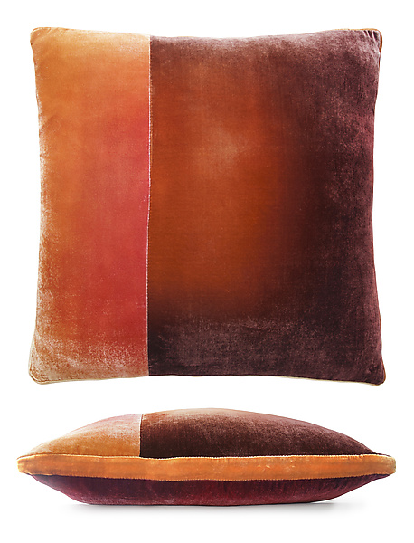 Large Colorblock Velvet Pillow in Wildberry