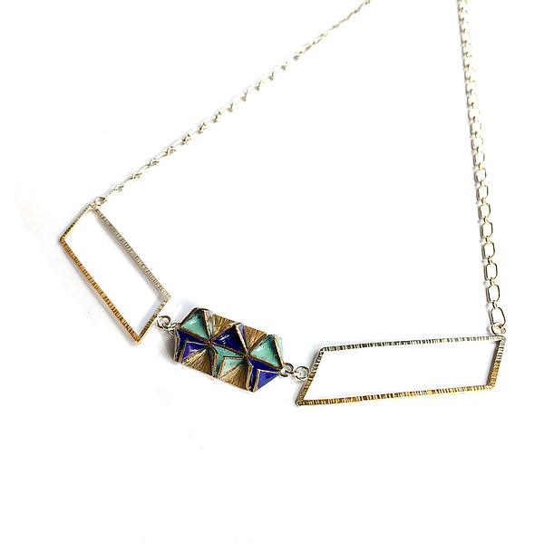Reveal Double Parallelogram Necklace