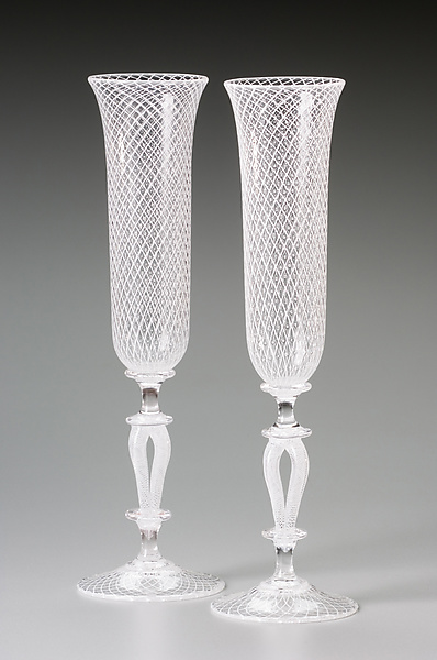 White Reticello Wedding Goblets