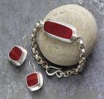 Red Frosted Glass Bracelet and Earrings