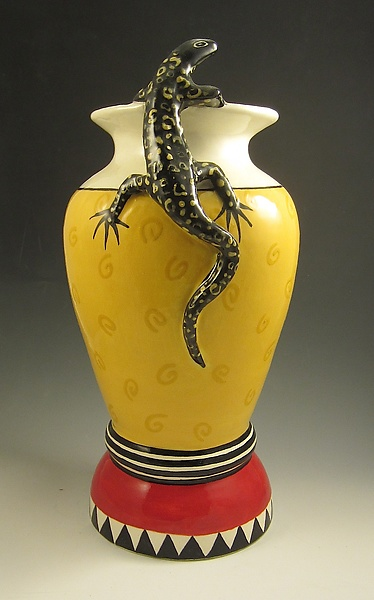 Red and Yellow Swirl Vase with Black Lizard