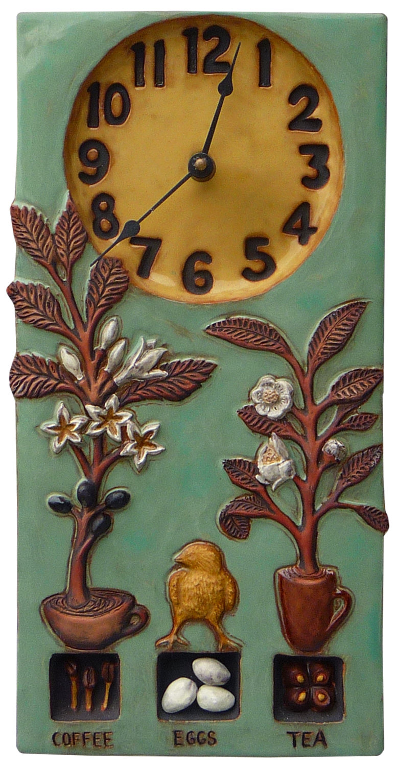 Coffee, Tea, Eggs Ceramic Wall Clock in Teal and Yellow Glaze