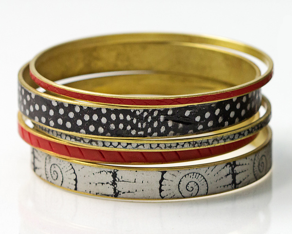 Black, Red & White Bangle Set
