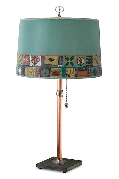 Copper Table Lamp with Large Drum Shade in Tesserae