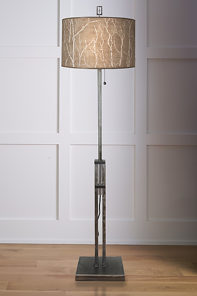 Adjustable Height Steel Floor Lamp with Large Drum Shade in Twigs