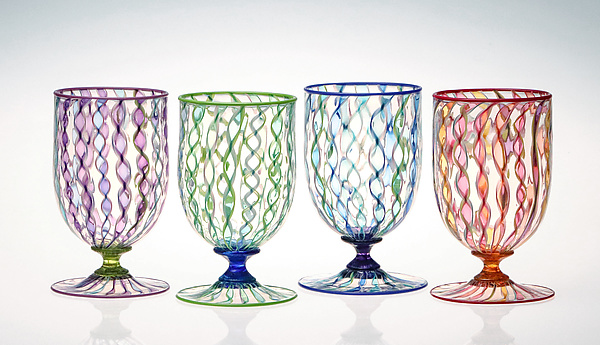 Ribbon Cane Water Glasses