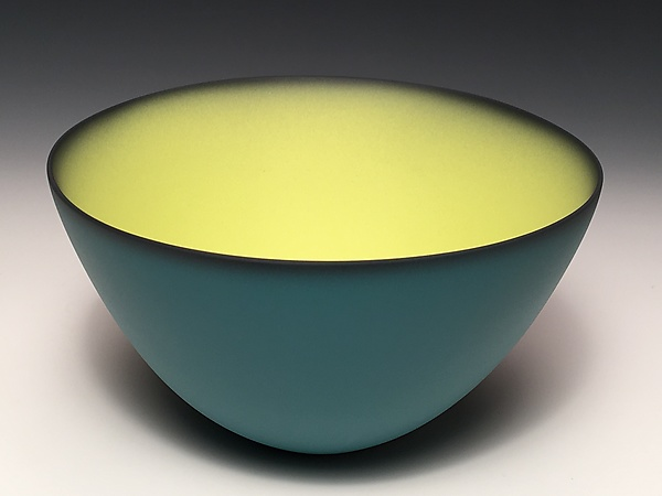 Smooth Bowl with Teal Exterior
