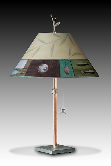 Twin Fish Copper Table Lamp
