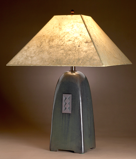 North Union Lamp in Onyx Glaze with Natural Lokta Shade