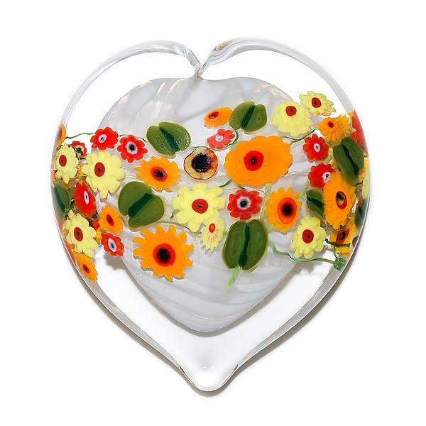 California Poppy on White Heart Paperweight